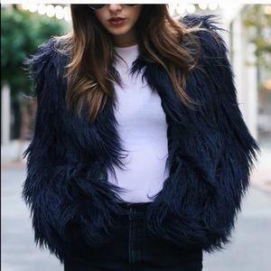 Zara Faux Fur Fuzzy Jacket in midnight blue